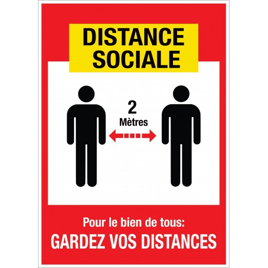 Affiche de prévention - Distance sociale - Paquet de 4