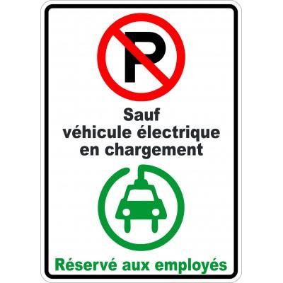 Affiche - Stationnement interdit sauf véhicule électrique icône