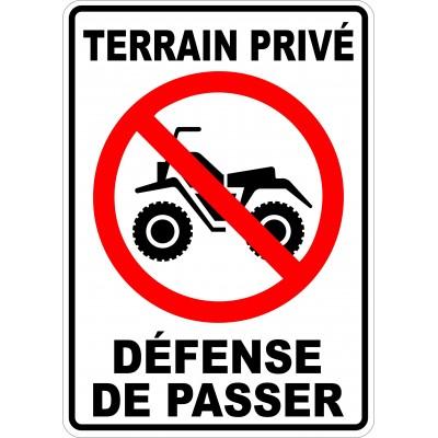 Affiche - Défense de passer VTT - Terrain privé