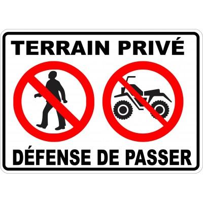 Affiche - Défense de passer VTT - Piéton - Terrain privé
