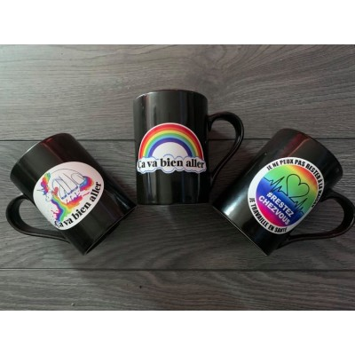 Sticker for mug - Rainbow, Unicorn and Job - Lot of 2