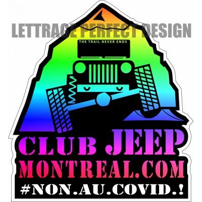 Autocollant - Club Jeep Montréal - Non au Covid - Lot de 2