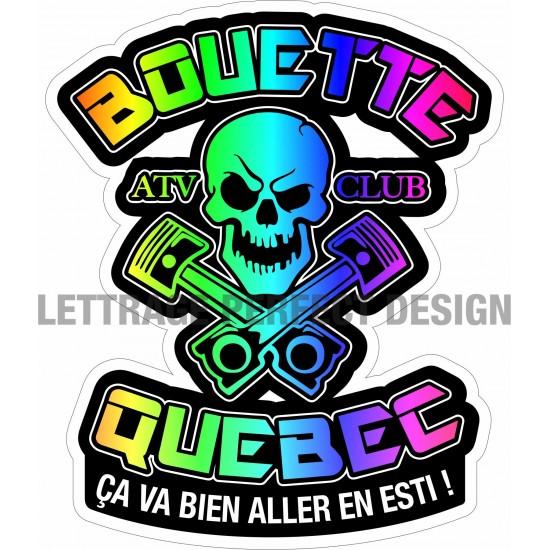 Autocollant tête de mort - Bouette Québec - Ça va bien aller en esti - Lot de 2