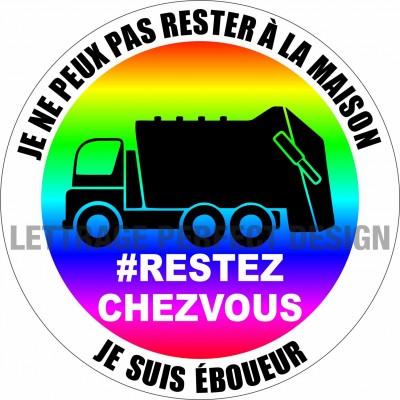 Autocollant #RESTEZCHEZVOUS - Éboueur - Lot de 2