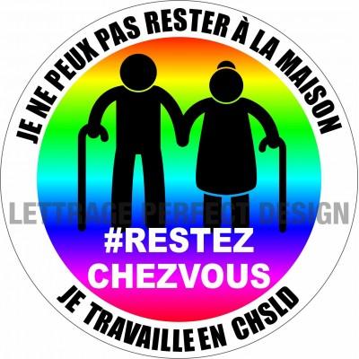 Autocollant #RESTEZCHEZVOUS - CHSLD- Lot de 2