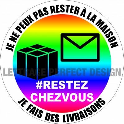 Autocollant #RESTEZCHEZVOUS - Livraison - Lot de 2