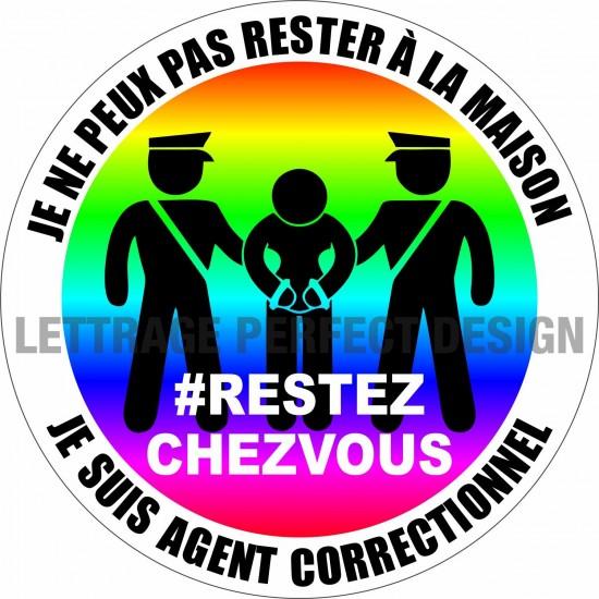 Autocollant #RESTEZCHEZVOUS - Agent correctionnel - Lot de 2