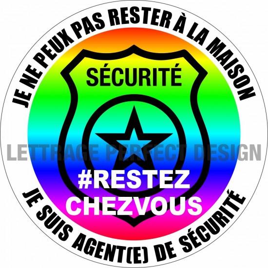 Autocollant #RESTEZCHEZVOUS - Agent(e) de sécurité - Lot de 2
