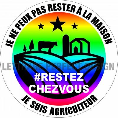 Autocollant #RESTEZCHEZVOUS - Agriculteur - Lot de 2
