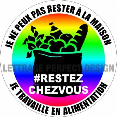Autocollant #RESTEZCHEZVOUS - Alimentation - Lot de 2