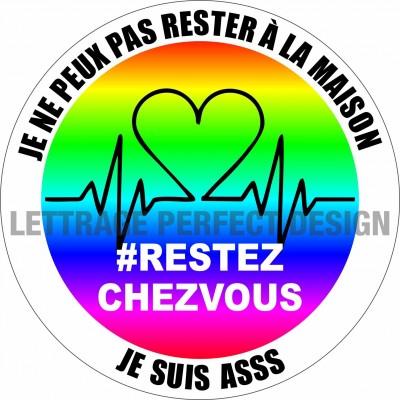Autocollant #RESTEZCHEZVOUS - ASSS - Lot de 2