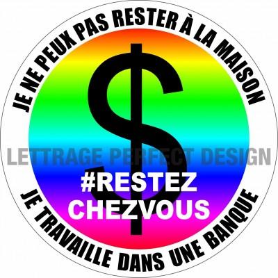 Sticker #RESTEZCHEZVOUS - Bank - Lot of 2