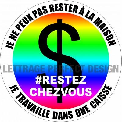 Autocollant #RESTEZCHEZVOUS - Caisse - Lot de 2