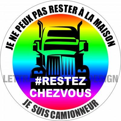 Autocollant #RESTEZCHEZVOUS - Camionneur - Lot de 2