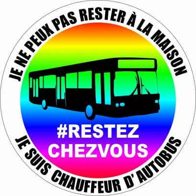 Autocollant #RESTEZCHEZVOUS - Chauffeur d'autobus - Lot de 2