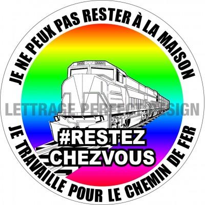 Autocollant #RESTEZCHEZVOUS - Chemin de fer - Lot de 2