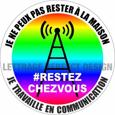 Autocollant #RESTEZCHEZVOUS - Communication - Lot de 2