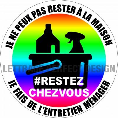 Autocollant #RESTEZCHEZVOUS - Entretien ménager - Lot de 2