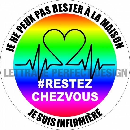 Autocollant #RESTEZCHEZVOUS - Infirmière - Lot de 2