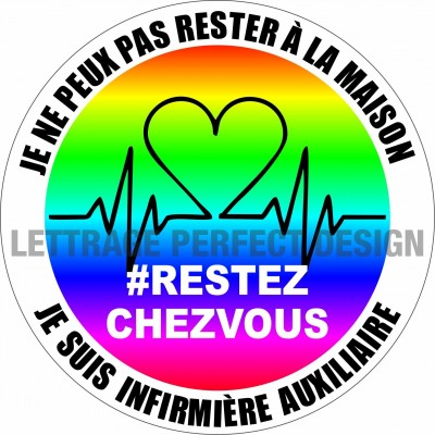 Autocollant #RESTEZCHEZVOUS - Infirmière auxiliaire - Lot de 2