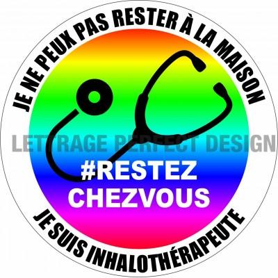 Autocollant #RESTEZCHEZVOUS - Inhalothérapeute - Lot de 2