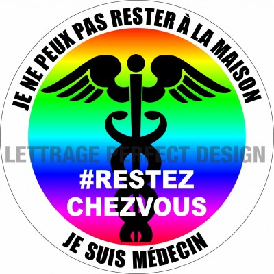 Autocollant #RESTEZCHEZVOUS - Médecin - Lot de 2