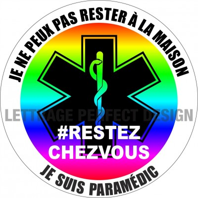 Autocollant #RESTEZCHEZVOUS - Paramédic - Lot de 2