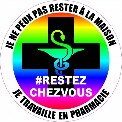 Autocollant #RESTEZCHEZVOUS - Pharmacie - Lot de 2