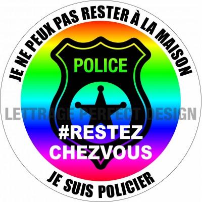 Autocollant #RESTEZCHEZVOUS - Policier - Lot de 2