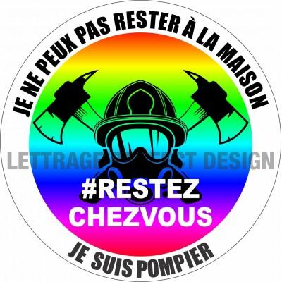 Autocollant #RESTEZCHEZVOUS - Pompiers - Lot de 2