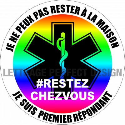 Autocollant #RESTEZCHEZVOUS - Premier répondant - Lot de 2