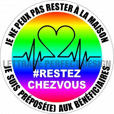 Autocollant #RESTEZCHEZVOUS - Préposé(e) aux bénéficiaires - Lot de 2