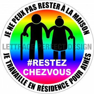 Autocollant #RESTEZCHEZVOUS - Résidence aînés - Lot de 2