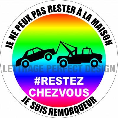 Autocollant #RESTEZCHEZVOUS - Remorqueur - Lot de 2