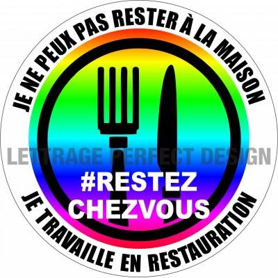 Autocollant #RESTEZCHEZVOUS - Restauration - Lot de 2