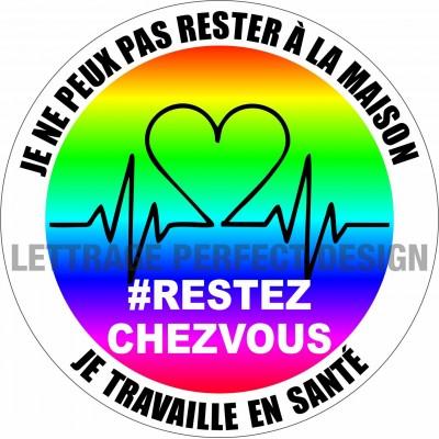 Autocollant #RESTEZCHEZVOUS - Santé - Lot de 2