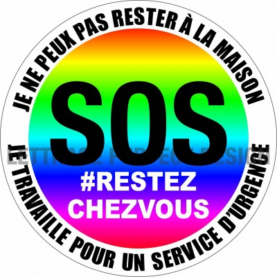Autocollant #RESTEZCHEZVOUS - Service d'urgence - Lot de 2