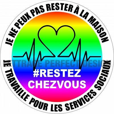 Autocollant #RESTEZCHEZVOUS - Services sociaux - Lot de 2