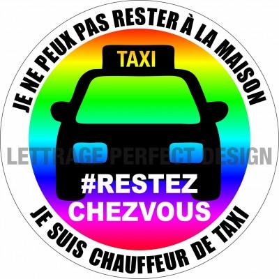 Autocollant #RESTEZCHEZVOUS - Taxi - Lot de 2
