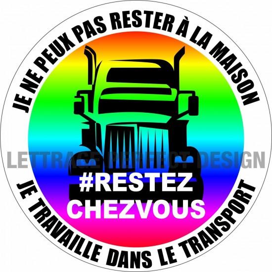 Autocollant #RESTEZCHEZVOUS - Transport - Lot de 2