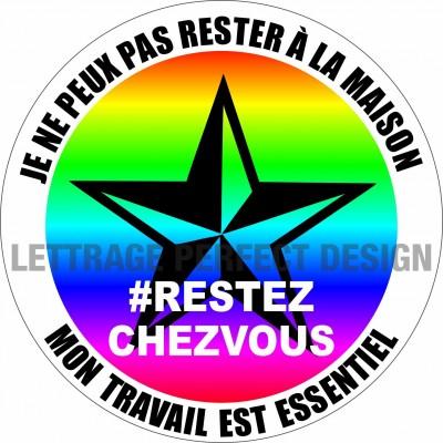 Autocollant #RESTEZCHEZVOUS - Travail essentiel - Lot de 2