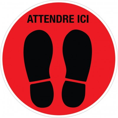 "Floor sticker - Full shoe print ""Attendre ici"" - Lot of 4"