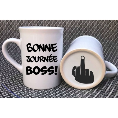 "Decal for mug ""Bonne journée boss"""