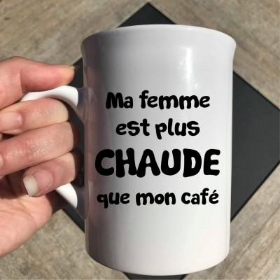 """Décalque autocollant """"Ma femme est plus chaude que mon café"""""""