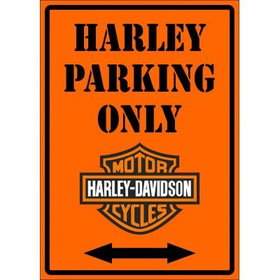Affiche - Harley parking only orange
