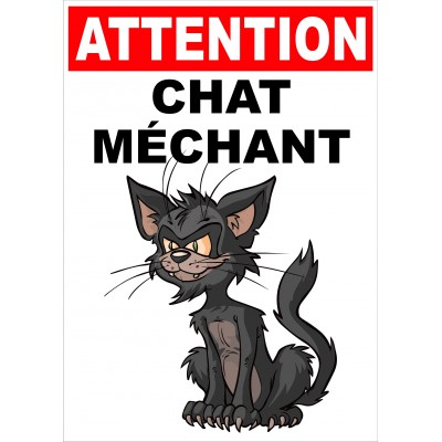 Affiche - Attention chat méchant