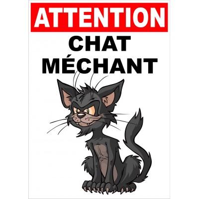 Affiche - Attention chat méchant