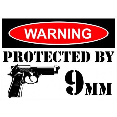 Sign - Warning 9mm