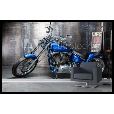 Murale - Moto bleue