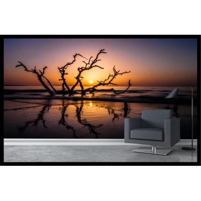 Murale - Arbre lac au coucher de soleil